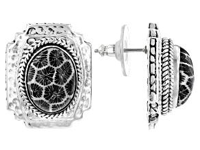 Black Indonesian Coral Silver Stud Earrings