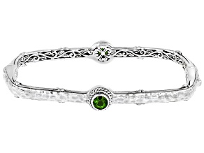 Green Chrome Diopside Silver Bangle Bracelet .88ctw