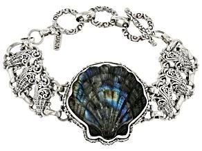 Carved Labradorite & Onyx Doublet Silver Clam Shell Bracelet