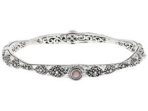 Peruvian Pink Opal Silver Bangle Bracelet