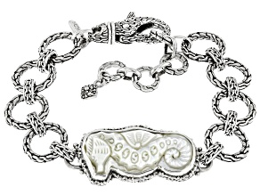 Carved White Mother-of-Pearl Silver Seahorse Bracelet