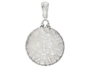 White Mother-of-Pearl Butterfly Silver Enhancer Pendant