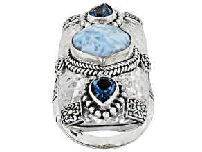 Larimar & London Blue Topaz Silver Ring 1.54ctw