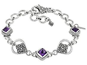 Purple Amethyst Sterling Silver Bracelet 2.22ctw