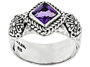 Purple Amethyst Sterling Silver Solitaire Ring .60ct