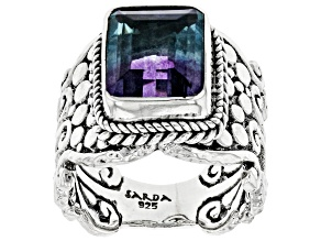 Bi-Color Fluorite Sterling Silver Solitaire Ring 4.76ct