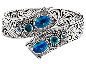 Blue Caribbean Quartz™ Triplet Sterling Silver Bypass Bangle .46ctw