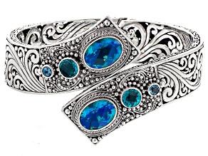 Blue Caribbean Quartz™ Triplet Sterling Silver Bypass Bangle .46ctw