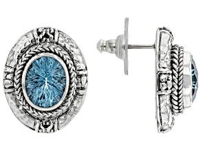 Sky Blue Topaz Silver Earrings 5.98ctw