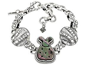 Carved Mother-of-Pearl Silver Ladybug Bracelet