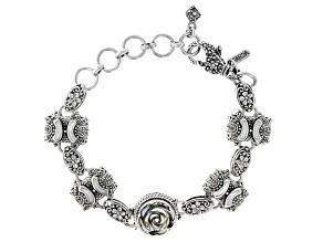 Multi-Color Abalone & Mother-of-Pearl Silver Frangipani Bracelet