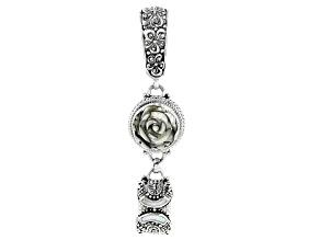 Multi-Color Abalone & Mother-of-Pearl Silver Frangipani Pendant