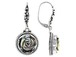 Carved Abalone Sterling Silver Frangipani Earrings