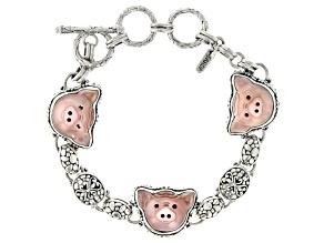 Carved Mother-of-Pearl Silver Pig Face Bracelet