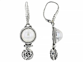 White Cultured Mabe Pearl Sterling Silver Earrings