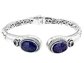 Blue Tanzanite Silver Cuff Bracelet 10.06ctw