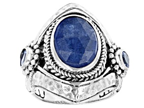 Blue Tanzanite Sterling Silver Ring 5.03ctw