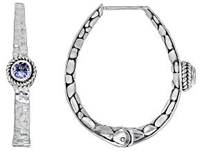 Tanzanite Sterling Silver Hoop Earrings .52ctw