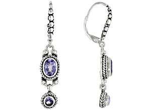 Tanzanite Sterling Silver Dangle Earrings 1.32ctw