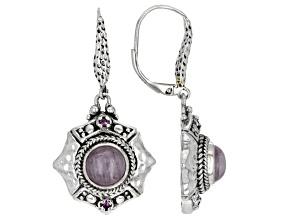 Kunzite & Sapphire Silver Earrings .04ctw