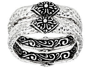"""Silver """"His Glory Gives Us Light"""" Set of 2 Rings"""