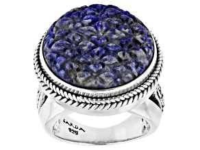 Carved Lapis Sterling Silver Flower Ring