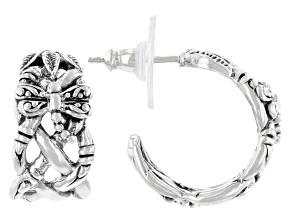 """Silver """"Renewed Devotion"""" Dragonfly J-Hoop Earrings"""
