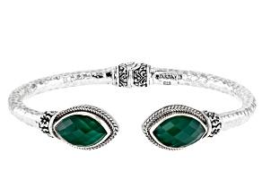 Green Onyx Silver Frangipani Bracelet