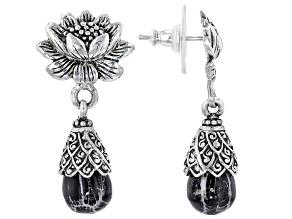 Black Indonesian Coral Silver Lotus Earrings