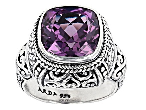 Lab Created Sapphire Sterling Silver Ring 8.67ct
