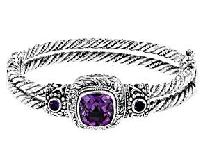 Lab Created Sapphire & Amethyst Silver Bracelet 9.07ctw