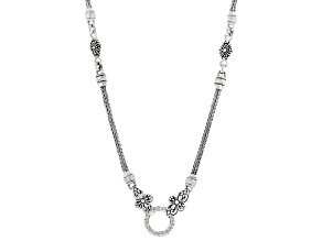 "Sterling Silver 18"" Snake Station Chain"