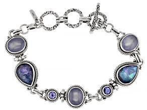 Sapphire Quartz Triplet, Chalcedony & Tanzanite Silver Bracelet 8.96ctw