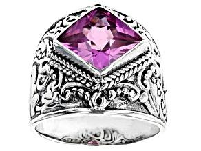 Lab Created Dark Rose Sapphire Silver Ring 5.36ct