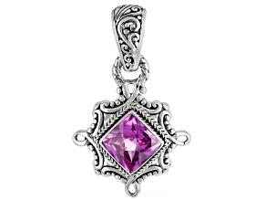 Lab Created Dark Rose Sapphire Silver Pendant 5.36ct