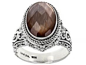 Metallic Bronze Wood Quartz Triplet Silver Ring 3.45ct