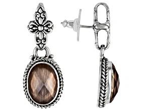Metallic Bronze Wood Quartz Triplet Silver Earrings 6.90ctw