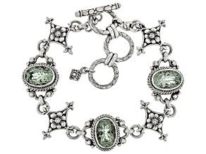 Green Prasiolite Sterling Silver Station Bracelet 8.43ctw