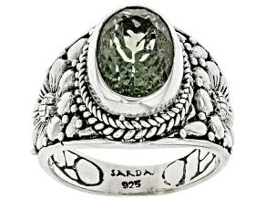 Green Prasiolite Sterling Silver Ring 2.81ct