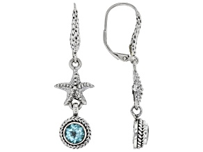 Paraiba Color Apatite Silver Earrings 1.54ctw
