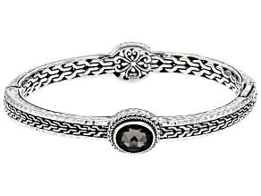 Black Knight™ Quartz Silver Bangle Bracelet 3.40ctw