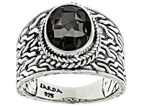 Black Knight™ Quartz Silver Ring 1.70ct
