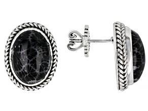 Black Indonesian Coral Silver Earrings