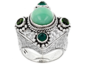 Mint Chrysoprase, Chrome Diopside, Onyx Silver Ring .46ctw