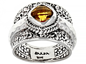Yellow Citrine Sterling Silver Ring 1.28ct