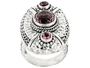 Pink Cashmere™ Quartz, Pale Plum™ Topaz Silver Ring .60ctw