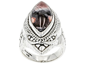 Multi-Color Porcelain Jasper Sterling Silver Ring
