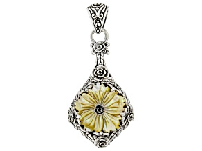 Yellow Carved Mother-of-Pearl Silver Pendant