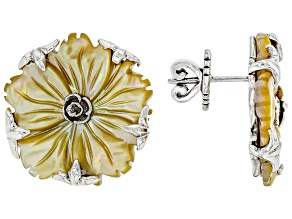 Yellow Carved Mother-of-Pearl Silver Flower Earrings
