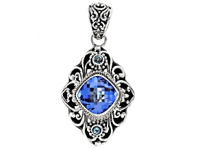 Blue Lab Created Quartz Sterling Silver Pendant 4.36ctw